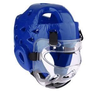 Kunstleder Kopfschutz Box Helm Gesichtsschutz Kopfschutzhelm Boxhelm Kampf Taekwondo Protectoren wie beschrieben Blau S