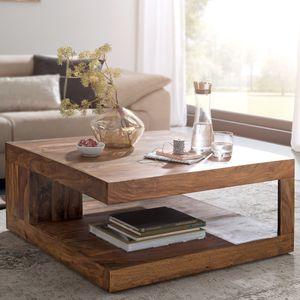 WOHNLING Couchtisch Massiv-Holz Sheesham 90 cm breit Design Wohnzimmer-Tisch dunkel-braun Landhaus-Stil Beistelltisch