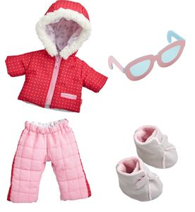 HABA 304110 - Kleiderset Winterspaß, Set aus Anorak, Schneehose, Sonnenbrille und Stiefeln, Puppenzubehör für alle 30 cm großen HABA-Puppen, ab 18 Monaten