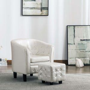 Moderne - Chesterfield-Sessel Sofa Stuhl mit Fußhocker Weiß Kunstleder