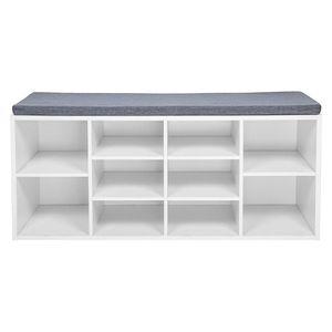 Meerveil Schuhbank, Schuhregal aus Fiberboard Holz mit Sitzauflage gepolstert mit 10 Fächern 104 x 45 x 30 cm - Weiß