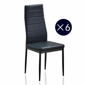 Mondeer 6er-set Esszimmerstühle, Esstischgruppe, Sitzgruppe aus Kunstleder schwarz