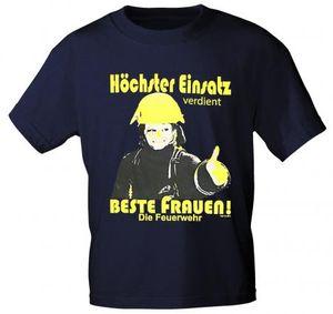 T-Shirt unisex mit Print - Feuerwehr Beste Frauen - 09674 dunkelblau - Gr. S-XXL Größe - S