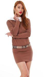 Fraid Japan Style von Mississhop Damen Kleid Bluse Tunika Longshirt mit Kapuze Kakao-Ecru XL