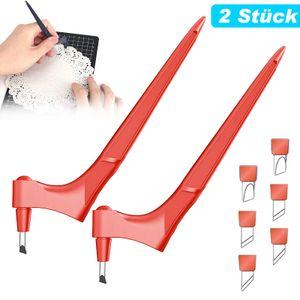 Bastelmesser Handhelder Tranchiermesser Papierschneidemesser, 360-Grad-drehbare Multifunktions-Schneidewerkzeuge mit 6 Klingen(Rot)