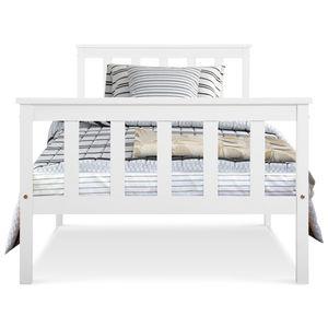 Jugendbetten Holzbett Bett Einzelbett 90 x 200 cm Massivholzbett mit Lattenrost Bettgestell Kieferbett für Erwachsene Kinder Jugendliche Weiß
