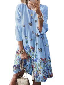 Damen Kleid mit Neun-Viertel-Ärmeln und Retro-Print und großem O-Ausschnitt,Farbe: Himmelblau,Größe:M