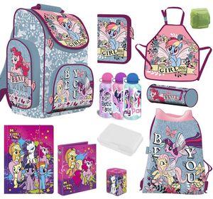 My Little Pony Schulranzen Set 10 TLG. mit Federmappe Bastel-Schürze Regenschutz Einhorn Regenbogen für Mädchen