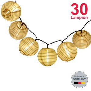 LED Außen-Lichterkette Solar Outdoor 6 Meter 30 Lampions IP44 Wasserfest Deko Solar/Akkubetrieben Garten Terrasse Balkon