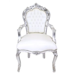 Barock Stuhl Barockstuhl Weiß Silber Kunstleder Antik Klassisch Luxus Deko Lounge Veranda TOP