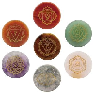 7x Runde Gravierte Energie Chakra Edelstein Palmsteinkristalle