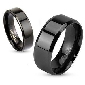 Damen Herren Ring Edelstahl Partnerring Ehering Verlobungsring Bandring schwarz 57 - Ø 18,14 mm 6 mm