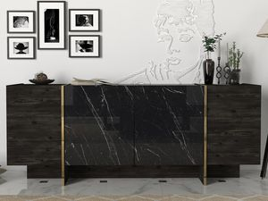 Sideboard Veyron Rebab Braun Dunkelgrau Marmor Optik | B 180 cm x H 75,5 cm x T 46,6 cm
