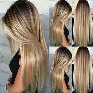 Hitzebeständige Frauen Blonde Perücke Synthetisches Haar Langes glattes Party-Haarteil
