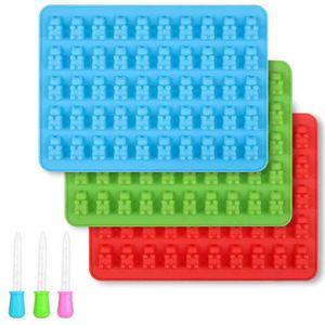3 Stück Süßigkeit Form Silikon Gummibärchenformen Silikonformen mit Pipetten für Gummibärchen, Gelee, Schokolade, Halloween-Weihnachtssüßigkeiten