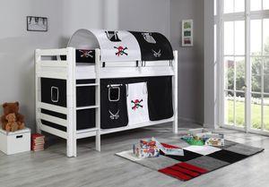 Relita Etagenbett BENI Buche massiv weiß lackiert mit Textilset Pirat; BE3001117-B90+TX5042029+TX5082029