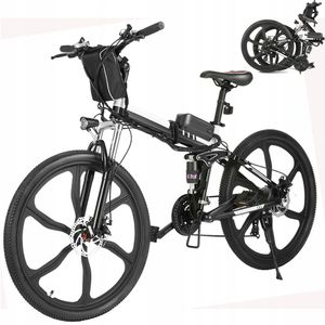 E-Trekkingrad Elektrofahrrad E-bike Mountainbike, Faltbares 26 Zoll E-MTB Elektrisches Fahrrad mit 36V 8AH Lithium Akku 250W und Shimano 21-Gang Getriebe 30 Meilen,für Damen, Herren, Unisex