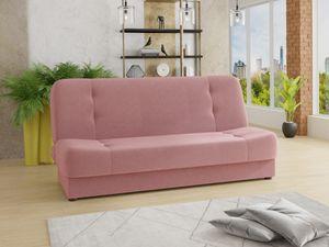 Schlafsofa Sena - Sofa mit Schlaffunktion und Bettkasten, Velours Stoff, Bettsofa mit Bonell-Federkern, Couch (Pink (Manila 09))
