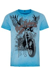 Hangowear Trachtenshirt kurzarm blau bedruckt Till 009417 Größe: L