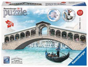 RAVENSBURGER 3D Puzzle Bauwerke Erwachsenenpuzzle Big Ben Eiffelturm 216 Teile, Motiv:Rialtobrücke