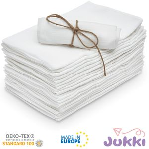 10 Stück - JUKKI® Stoffwindeln 70x80 cm Spucktücher Mullwindeln Wickeltücher weiß 100% Baumwolle TETRA