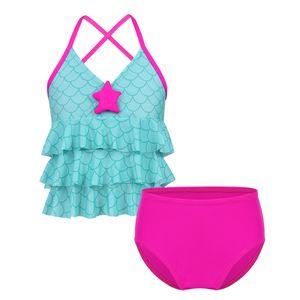 IEFIEL Mädchen Bikini Set Meerjungfrau Badeanzug Tankini Set Fischschuppen Bikini Tops + Badeshorts