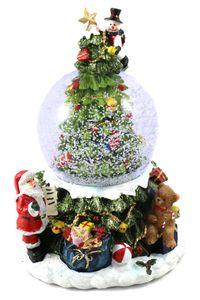 Schneekugel Ø 85mm mit Spieluhr & Licht mit Tannenbaum H: 18,5cm(6900070)