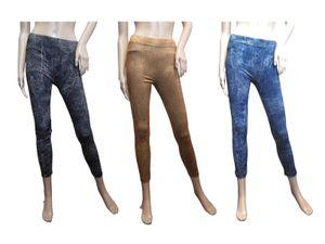SMART TEX® Damen Stretch Hose Gr. L 3er-Set Lederprint Slim Leggings Leggins