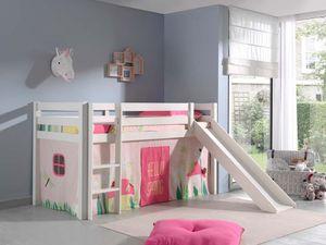 Pino Spielbett mit Rutsche 90x200 cm Weiß Spring, Matratze:Basic