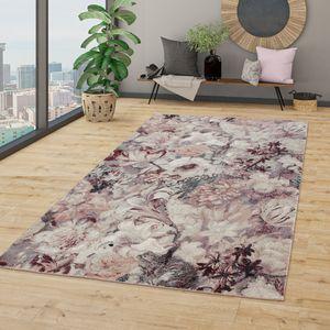 Wohnzimmer Teppich Kurzflor Esszimmer Blumen Muster Boho Style, Modern In Rose, Größe:120x170 cm