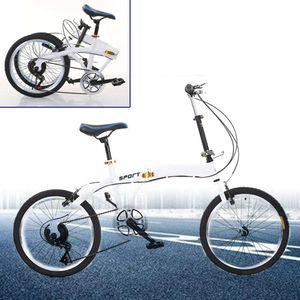 20 Zoll Klappfahrrad Klapprad Unisex Faltrad 7 Gang Doppel-V-Bremse Klappräder,Erwachsene,Max. Tragfähigkeit 90 kg,Weiß