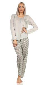 Damen Pyjama lang zweiteiliger Schlafanzug,  Grau L