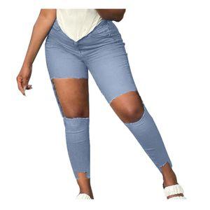 Damen High Waisted Ripped Pants Straight Denim Jeans Lässige Baggy-Hose Größe:M,Farbe:Light blue