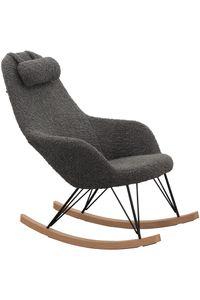 SalesFever Schaukelstuhl mit Kopfkissen | Bezug Teddyfell | Kufen Massiv-Holz | Gestell Metall schwarz | B 67 x T 105 x H 106,5 cm | grau