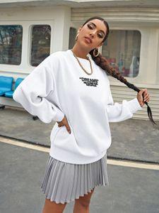 Damen Dünnes Oversized Sweat Shirt Oberteil Rundhals Long Pullover Leicht Legerer Longsleeve Sweater Dreams, Farben:Weiß, Größe:S