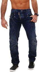 Cipo & Baxx Herren denim Jeans Hose mit schräg verlaufendem Reißverschluss Vintage Look Pants Straight Leg Regular Fit, Grösse:W32/L30, Farbe:Dunkelblau (C-0768)