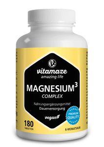 Magnesium Komplex, 350 mg elementares Magnesium mit 24h Depot-Effekt, 180 vegane Tabletten für 6 Monate