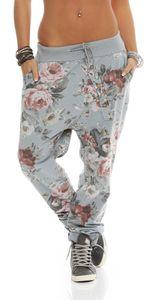 130 Damen Jogginghose Hose Sweatpants Baumwolle Freizeithose Boyfriend Baggy Haremshose Einheitsgröße (36-40)  Blumen Muster Print, Hellgrau