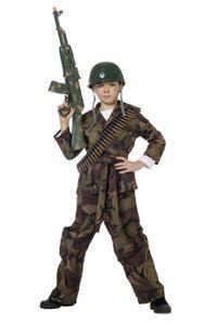 Camouflage Kinder Kostüm Soldat Karneval Fasching Gr.140
