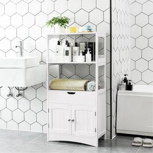 VASAGLE Badschrank mit Schublade und Doppeltür   122 x 60 x 32,5cm   Hochschrank mit großem Regal weiß Badezimmerschrank schmal BBC64WT