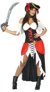 y langes Piratin Kostüm für Damen Gr. M-XL, Größe:L