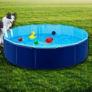 Speed Hundepool,Doggy Pool,Katzenpool,Faltbares Pool,Kinderbadewann,Dunkelblau,80x20CM