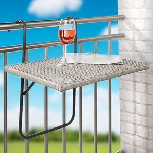 Balkonhängetisch Hängetisch Balkontisch 40x60cm, Gestell Metall verstellbar, Platte Polyrattan grau