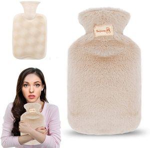 Wärmflasche mit Bezug, 800ml Wärmeflasche mit weichem Plüschbezug, Bettflasche mit Fleece Cover für Kinder und Erwachsene, Schmerzlinderung, Heiß- und Kältetherapie