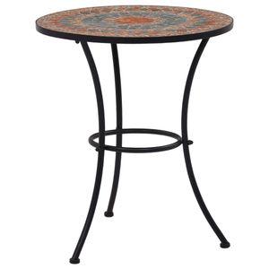 vidaXL Mosaik-Bistrotisch Orange / Grau 60 cm Keramik