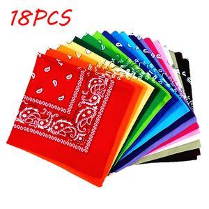 18PCS Paisley Bandanas Mehrfarbiges Set Cowboy Bandana Kopftuch Doppelseitig,Farbe:Bunt
