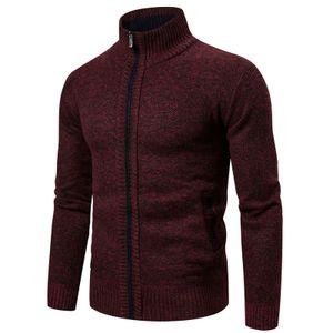 Einfarbiger Langarm-Strick-Cardigan-Mantel mit Stehkragen für Herren Größe:XXL,Farbe:Rot
