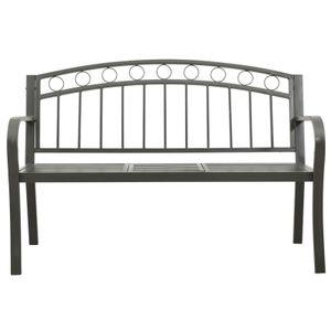yocmall Gartenbank mit 1 Tisch 125 cm Stahl Grau
