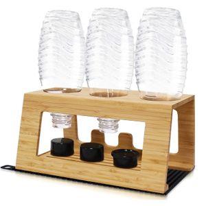 TOPOWN Sodastream Flaschenhalter aus Bambus, Sodastream Flaschen Abtropfhalter 3 er, Sodastream Tropfständer für Kristallsoda, Emil und andere Kratz- und rostbeständig ( Versand per DHL )