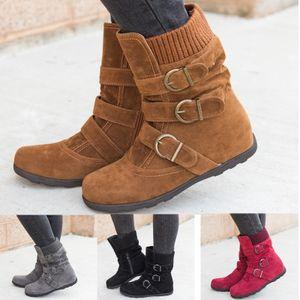 Damen Winter Mid Calf Stiefel Flats Booties Freizeitschuhe Schnalle Reißverschluss,Farbe: Schwarz,Größe:40